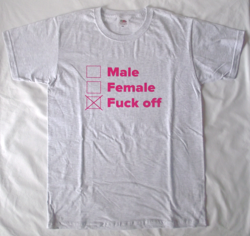 Male Female Fuck off (pink auf hellgrau)